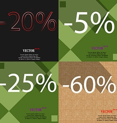 5 25 60 icon set of percent discount on abstract vector
