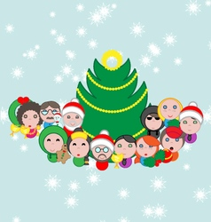 Christmas postcard with avatar composition vector