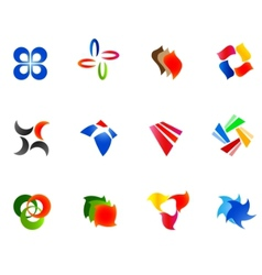 12 colorful symbols set 9 vector