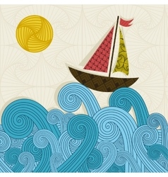 Boat on the waves vector