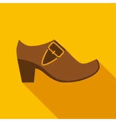 Brown leather leprechaun shoe with gold buckle vector