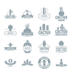 cactus logo icons set simple style vector image