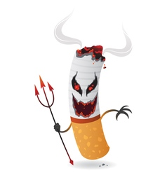 Cartoon devil cigarette vector