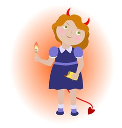 Cartoon devil girl with matches vector