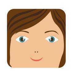 Cartoon human female happy face vector