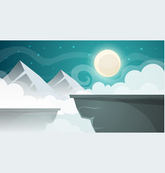 Cartoon night landscape mountain moon vector