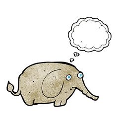 Cartoon sad little elephant with thought bubble vector