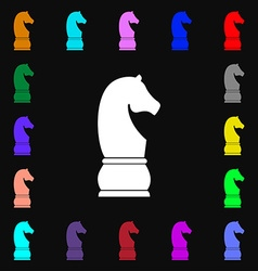 Chess knight icon sign Lots of colorful symbols vector image vector image
