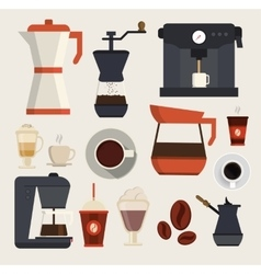 Coffe beverages icons vector image