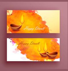 Diwali banners card with diya and watercolor vector