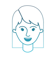Female face with mid lenght hair in degraded blue vector