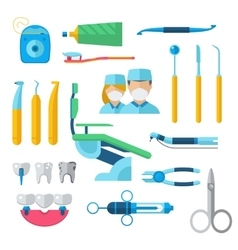 Flat dental instruments set dentist tools concept vector image