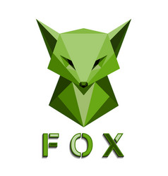 green fox head polygon vector image