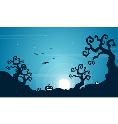 halloween scary at night landscape vector image vector image