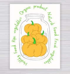 hand drawn poster with jar full of pumpkin with vector image