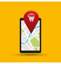 Hand holds phone navigation app market vector