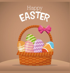 Happy easter card basket egg vector
