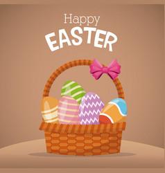 happy easter card basket egg vector image vector image