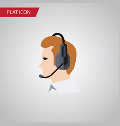 Isolated online support flat icon telemarketing vector