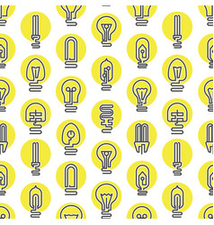 light bulb and led lamp seamless pattern vector image
