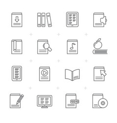 Line book library and education icons vector