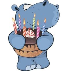 Little hippopotamus cartoon vector