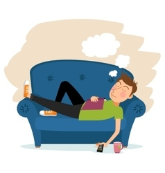 Man sleep on sofa vector image vector image