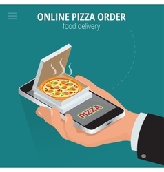 Online pizza ecommerce concept - order food vector