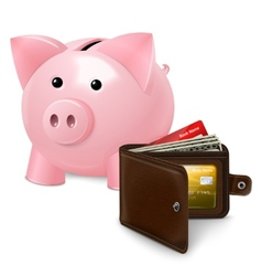 Piggy bank with wallet poster vector image