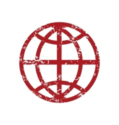 Red grunge world logo vector image vector image