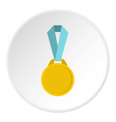 Round medal with ribbon icon circle vector