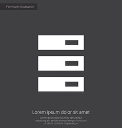 Server premium icon white on dark background vector
