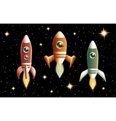 Set of three retro rockets vector image vector image