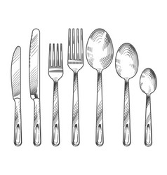 sketch silver knife fork and spoon hand drawn vector image