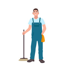 Smiling man dressed in dungarees holding scrubber vector