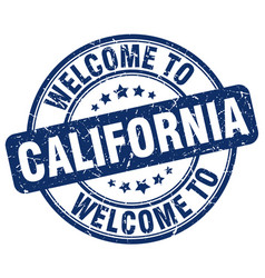 Welcome to california blue round vintage stamp vector
