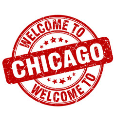 Welcome to chicago red round vintage stamp vector