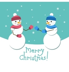 Snowman and his girlfriend card with merry vector