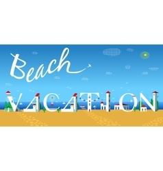 Beach vacation travel card artistic font vector