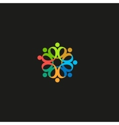 Isolated colorful flower petals contour logo vector