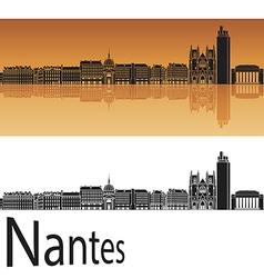 Nantes skyline in orange background vector image