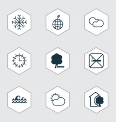 set of 9 eco icons includes world ecology house vector image