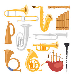 Wind musical instruments tools isolated on white vector