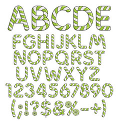 Alphabet numbers and signs from mint sweets vector