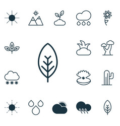 Set of 16 landscape icons includes water drops vector