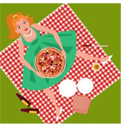 Picnic with pizza vector