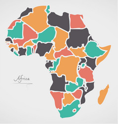 Africa continent map with states vector