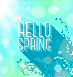 Spring greeting butterfly on letters with long vector