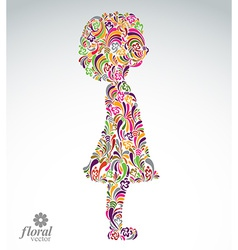 Creative of a girl with a short hair cute teenage vector