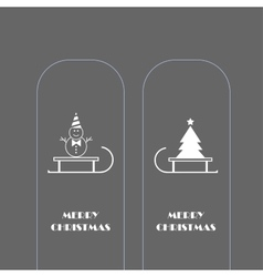 Snowman and christmas tree icons vector
